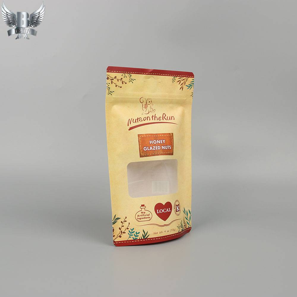 OEM Factory for Kraft Paper Zipper Pouches - OEM stand up zip lock paper bag with window – Kazuo Beyin