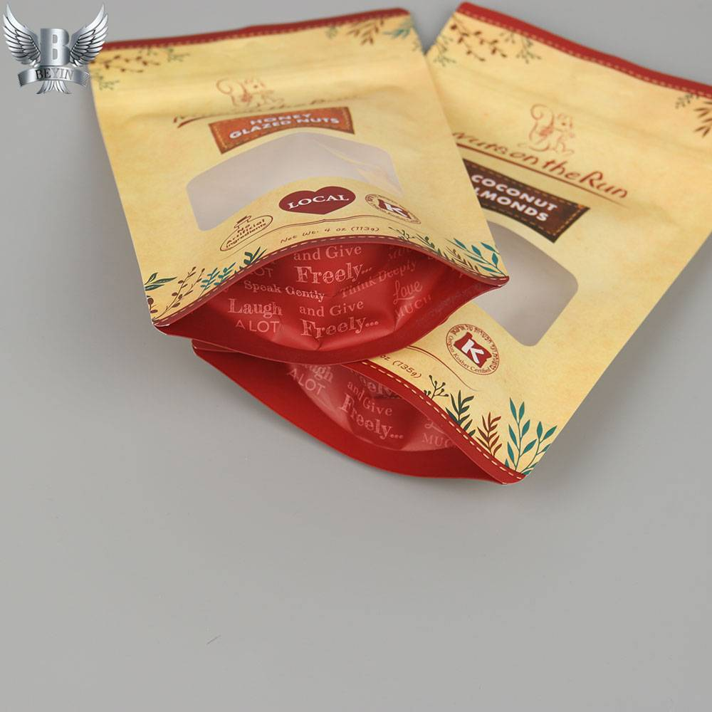 OEM Factory for Kraft Paper Zipper Pouches - OEM stand up zip lock paper bag with window – Kazuo Beyin detail pictures