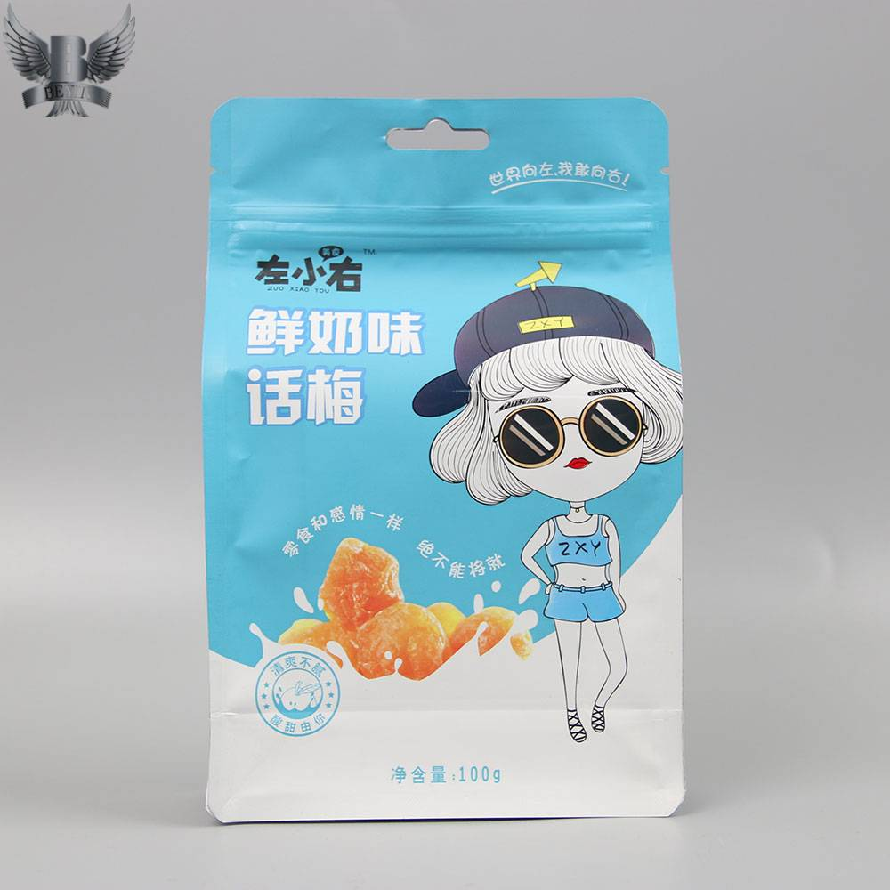 Custom dried fruit packaging flat bottom bags
