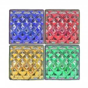 colored square clear art building solid glass block