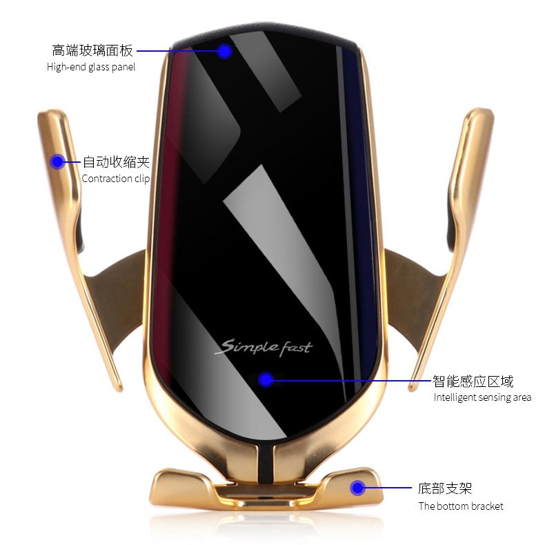 Automatic Clamping infrared induction 10W Qi Wireless Car Charger For iPhone Xs Huawei LG Nokia Featured Image