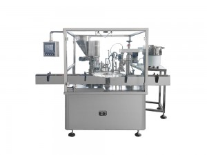 Small bottle powder filling and capping machine
