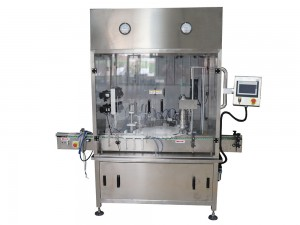 Small bottle filling, plugging & capping machine
