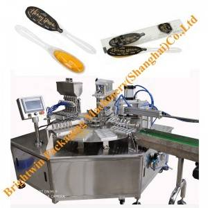 Alibaba Factory price honey spoon 4 nozzles filling sheet film sealing machine and pillow packing line