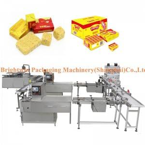 Automatic maggie cube pressing wrapping and packing line