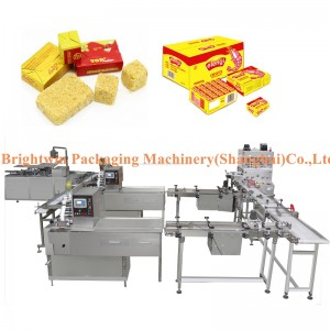 High quality China fresh meat steamed stuffed bouillon powder pressing wrapping carton packing machine line