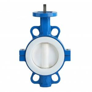 Sanitary Full PTFE Coated Wafer Butterfly Valve for hydrofluoric acid, phosphoric acid