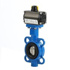Pneumatic Actuated Motor Wafer Connection Butterfly Valve with Ce ISO Wras Approved