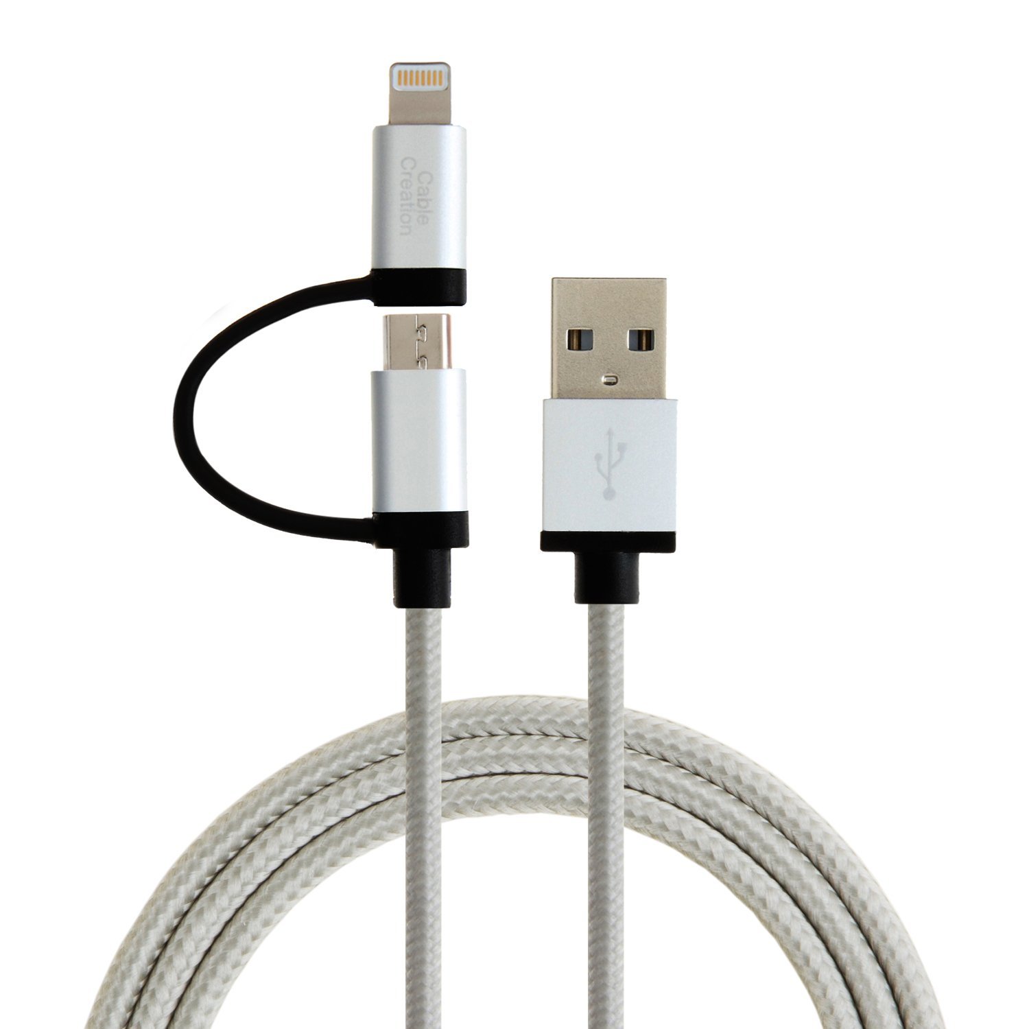 Top Suppliers Short Apple Lighting Cable – 2-in-1 Lightning and Micro USB to USB Data Sync Charge Cable, #CC0036 – CableCreation