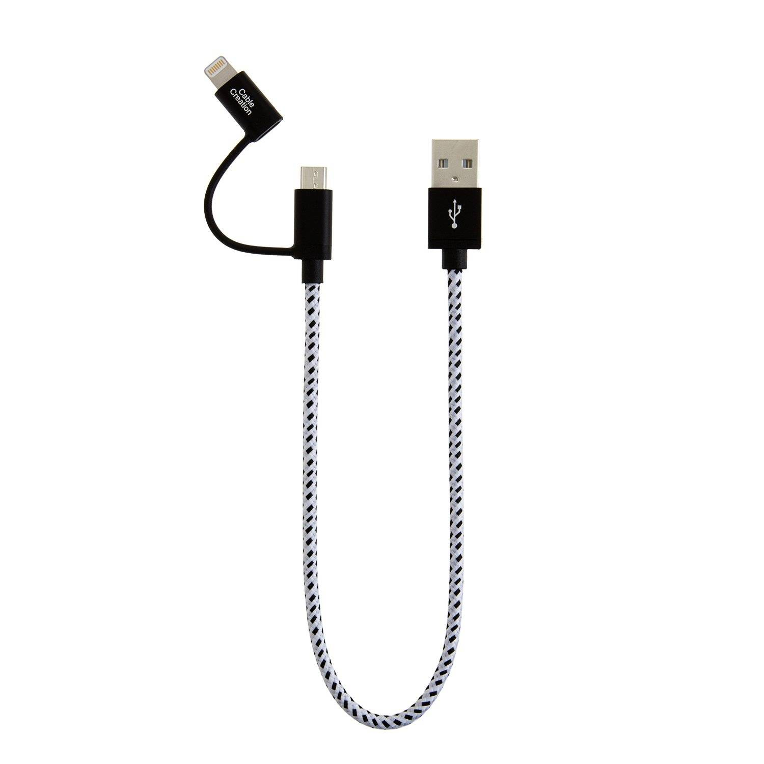 Hot sale Iphone Cable - 2-in-1 Short Lightning and Micro USB to USB Data Sync Charge Cable 0.8Feet / 0.25Meter, # CC0213 – CableCreation