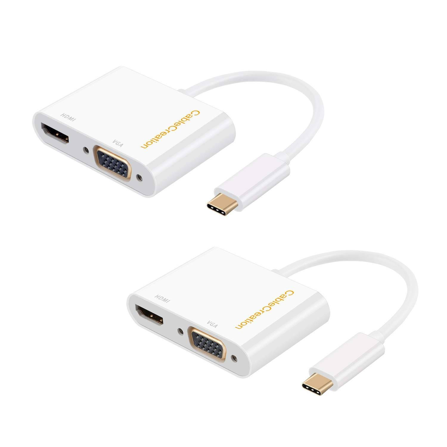 USB C to HDMI +VGA Adapter, White,# CD0412-2