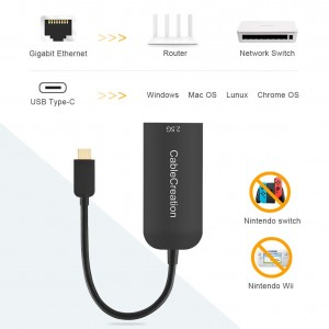 Mac OS 8 Black Chromebook Compatible with MacBook CableCreation USB C 3.1 to RJ45 2.5 Gigabit LAN Ethernet Cable Adapter Windows 10