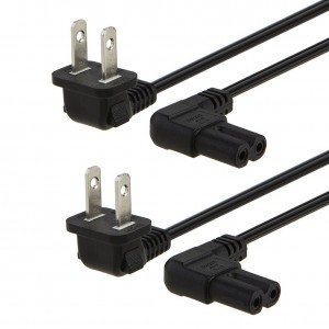 2-Pack 10 Feet/3 Meters Angled 2-Slot Non-Polarized Angle Power Cord, #CP0020-2