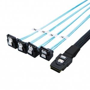 Mini SAS 36Pin (SFF-8087) Male to 4X Angle SATA 7Pin Female Cable 3.3Feet/1Meter, #CS0004