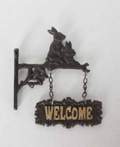 cast iron welcome sign  garden decorative