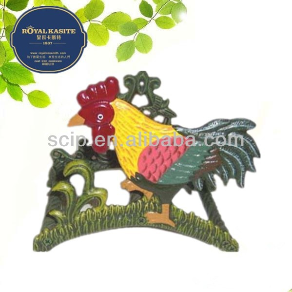 color painting cast iron rooster pipe racks garden decorations
