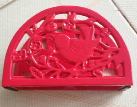 hot sale red color bird shape cast iron napkin holder