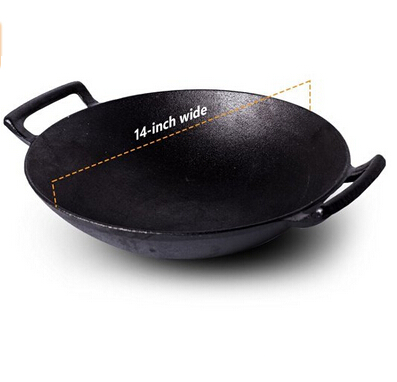 14inch preseasoned cast iron wok