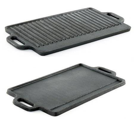 Heavy Duty Reversible Double Burner Cast Iron Grill Griddle