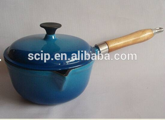 Wooden handle blue enamel cast iron milk pot