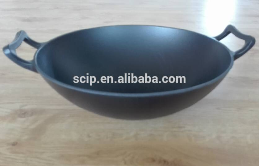 matte black cast iron wok,cast iron enamel wok,14 inch cast iron stewpot