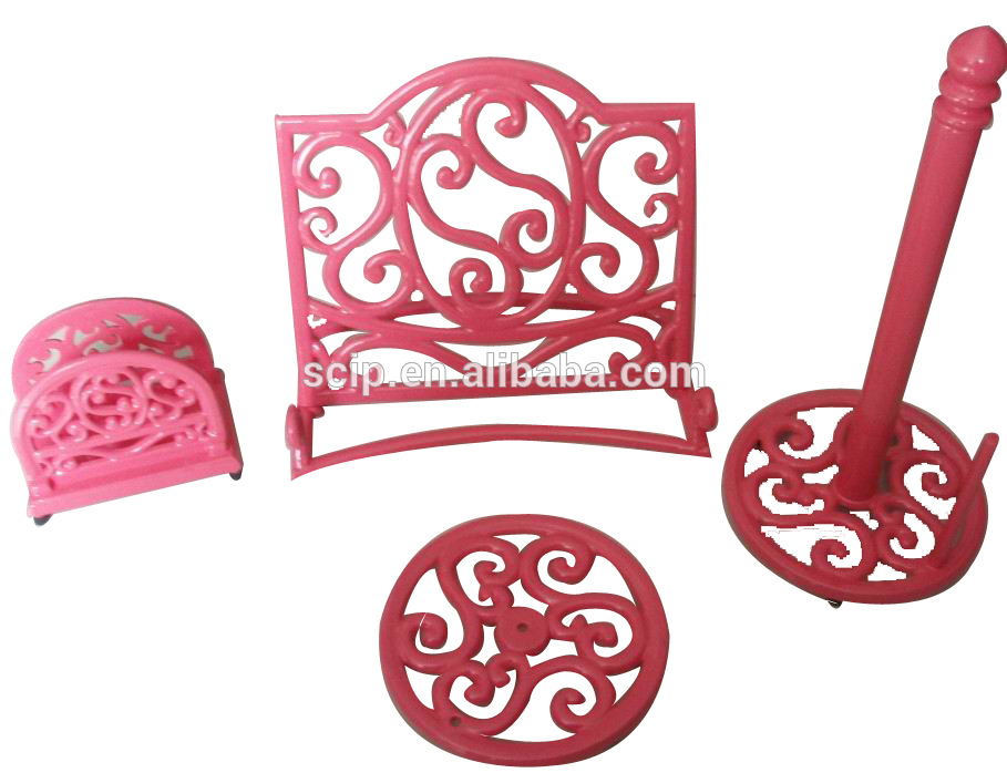 2016 Exquisite Tableware Accessories with enamel cast iron,include book stand,paper holder,towel holder and trivet.