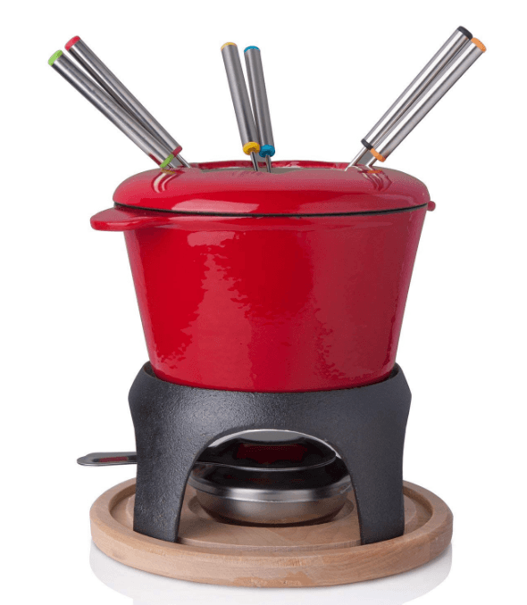 Fondue Set with 6 Forks Stylish Cast Iron Porcelain Enamel Pot for Cheese and Chocolate 63 fl oz Capacity 12pc Set Red and whit