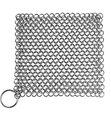 Blisstime Cast Iron Cleaner XL 7×7 Inch Premium Stainless Steel Chainmail Scrubber