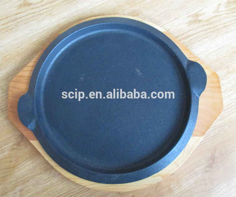 round cast iron steak pan sizzling plate