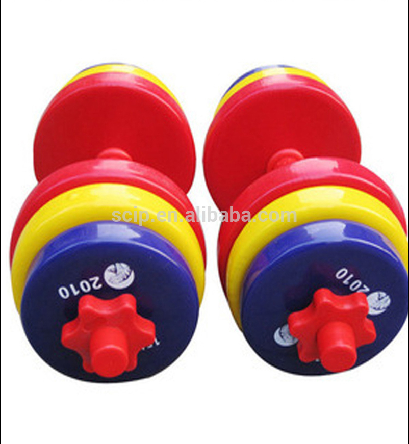 custom logo promotional personalized cast iron and ore sand dumbbell