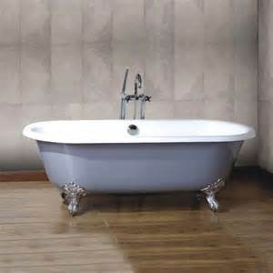 Clawfoot freestanding cast iron enamel double ended bathtub