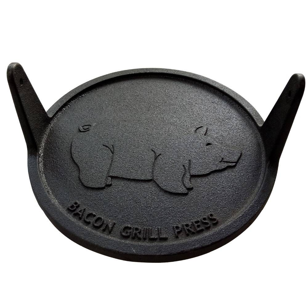Round cast iron bacon hamburger grill press