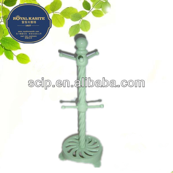 green color painting cast iron mug tree or cast iron rack
