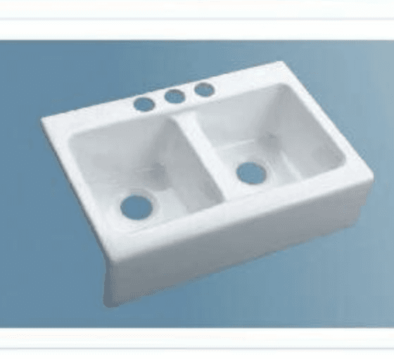 double bowl white cast iron sink