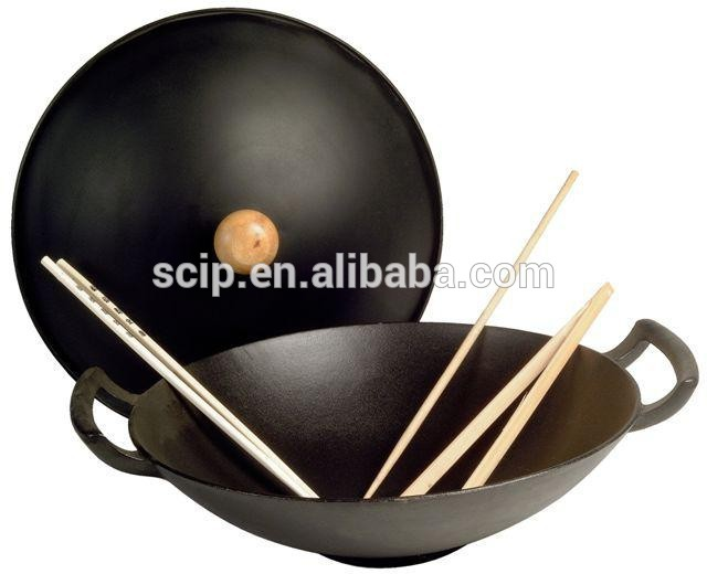 hot sale cast iron wok, low price cast iron wok with lid