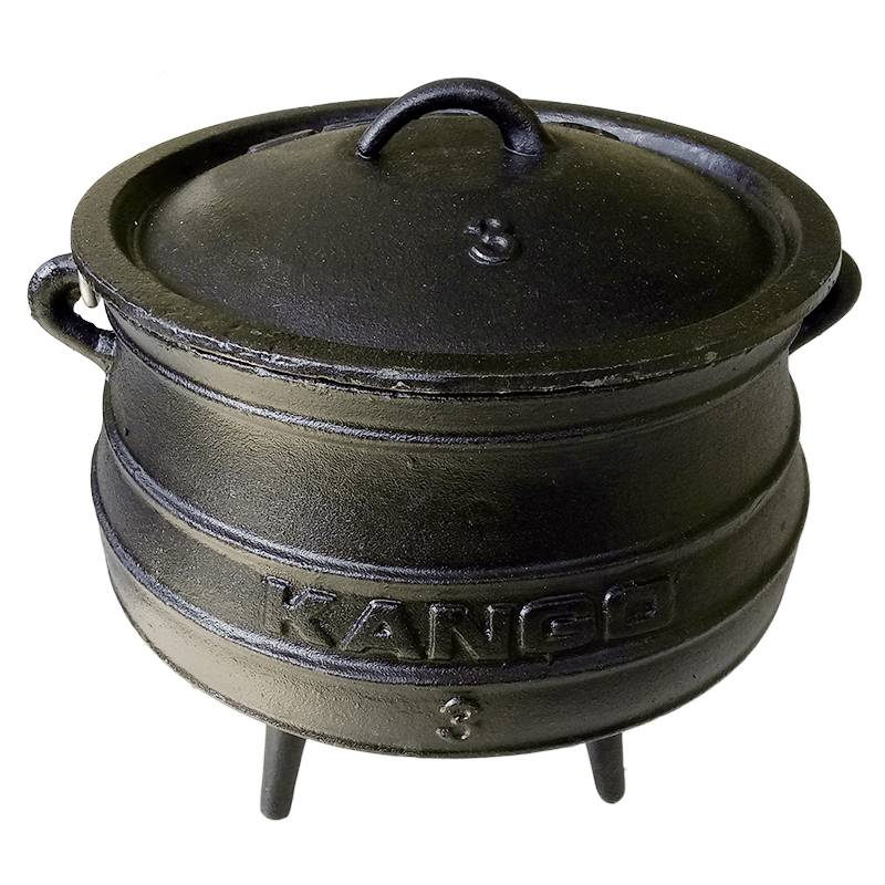 cast iron black African three legged potjie pot