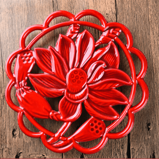 lotus pattern powder coating cast iron trivet water lily cast iron potholder