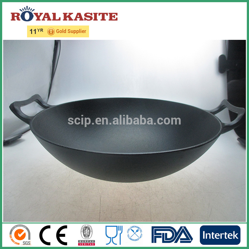 Alibaba hotselling pre-seasoned no stick two ears cast iron chinese wok