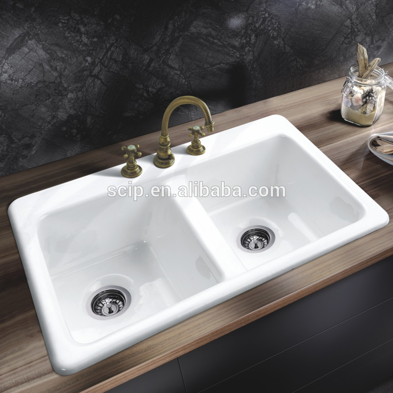 enameled cast iron countertop sinks SW-4003 with 3holes