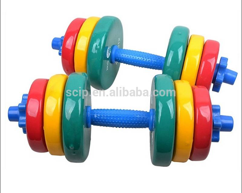 Hot selling factory cast iron colorful plastic Dip Dumbbell Sets