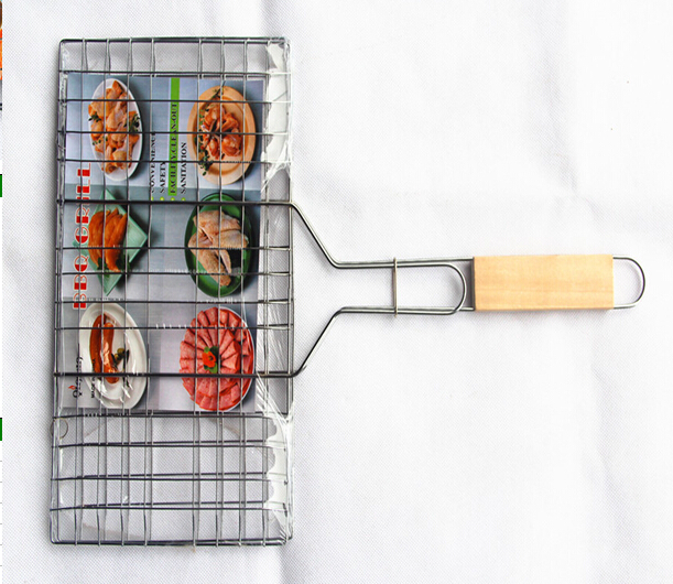 BBQ grill mesh with flat handle,iron BBQ Charcoal Grill factory supply