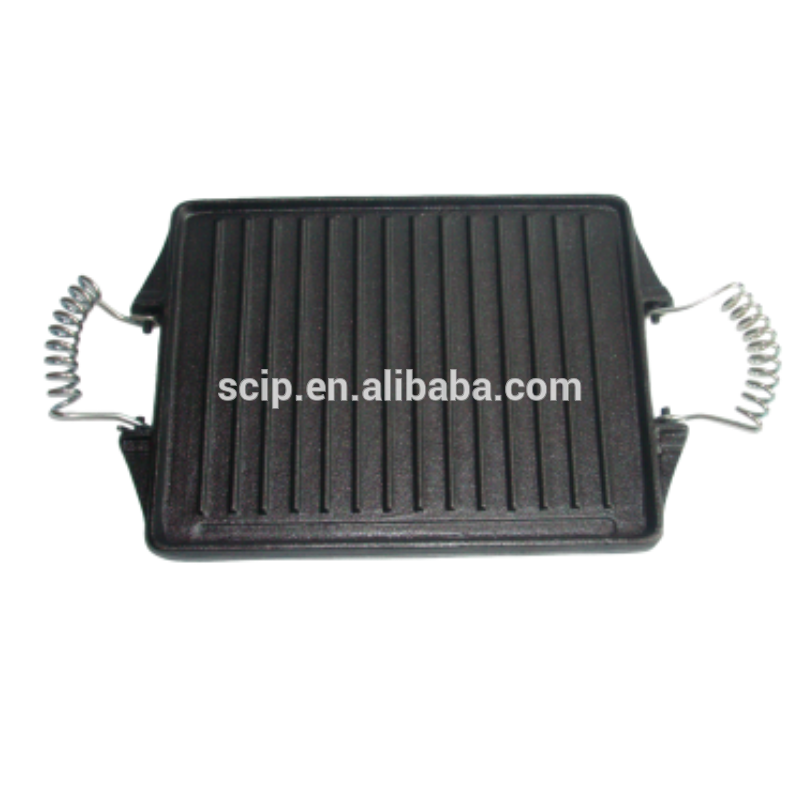preseasoned cast iron griddle pan with iron wire handle