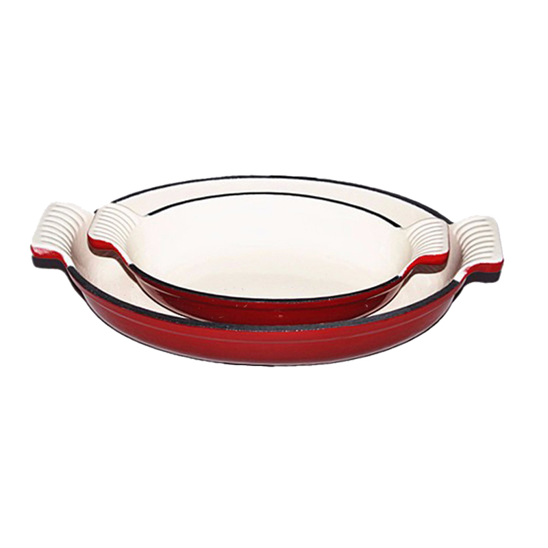 Fish Dishes Oval Cast Iron Roasting Pan, Color Enamel