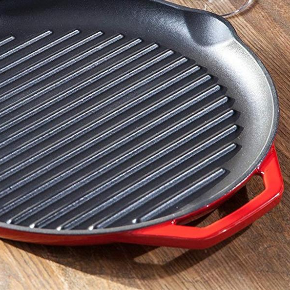 BBQ Plate – Cast Iron Round Grill – Red – Diameter 32 cm