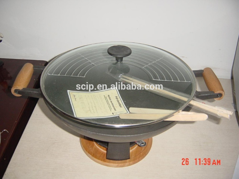hot sale cast iron wok, low price cast iron wok with glass lid