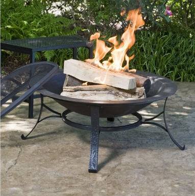 30 inch Round Cast Iron Copper Finish Fire Pit with Screen and Cover