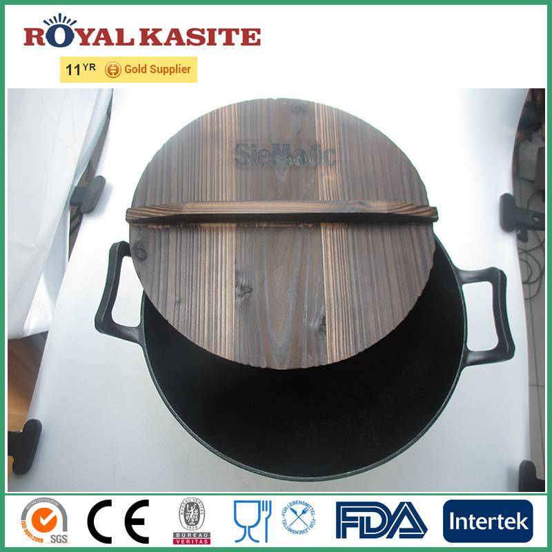 Wooden Lid Preseasoned Chinese Cast Iron Wok