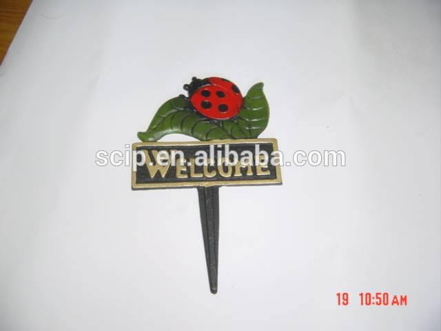 Custom cheap price cast iron gardenware welcome sign