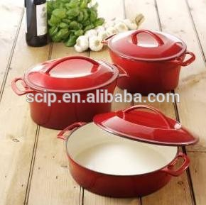 High quality hot sale cast iron red enamel casseroles