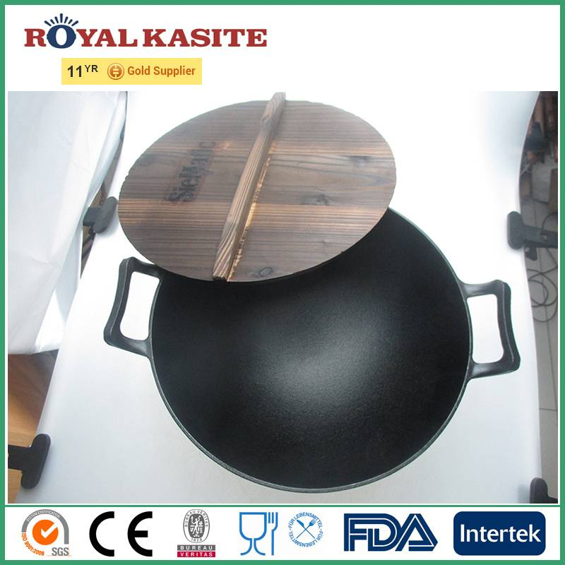 Wooden Lid Cast Iron Chinese Wok